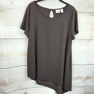 Chico's Brown asymmetrical Blouse Size 2(L-12)